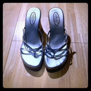 Callisto silver sandal wedge shoes size 7